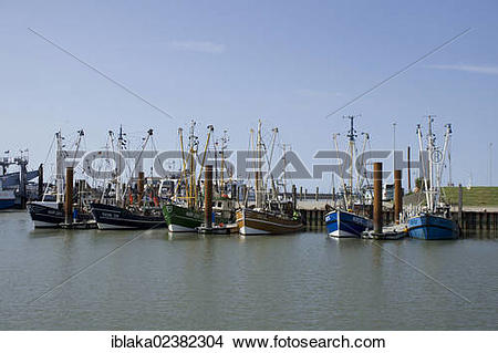 "Stock Photo of ""Shrimp boats in the port, Norddeich, Norden, East."