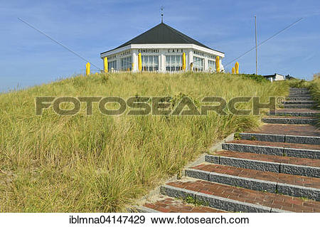 Stock Photograph of Cafe pavilion on the dune Marienhohe.
