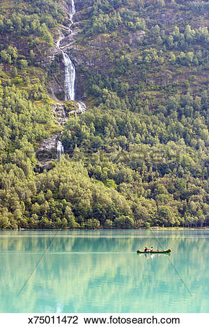 Stock Photo of Norway, Western Fjords, Nordfjord, two people in.
