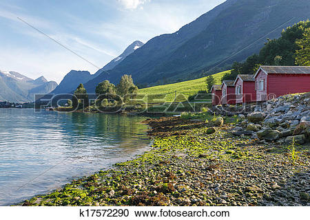 Stock Photography of Camping on the shore of Nordfjord, Norway.