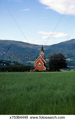 Stock Photograph of Country church, Nordfjord, Norway x75364449.
