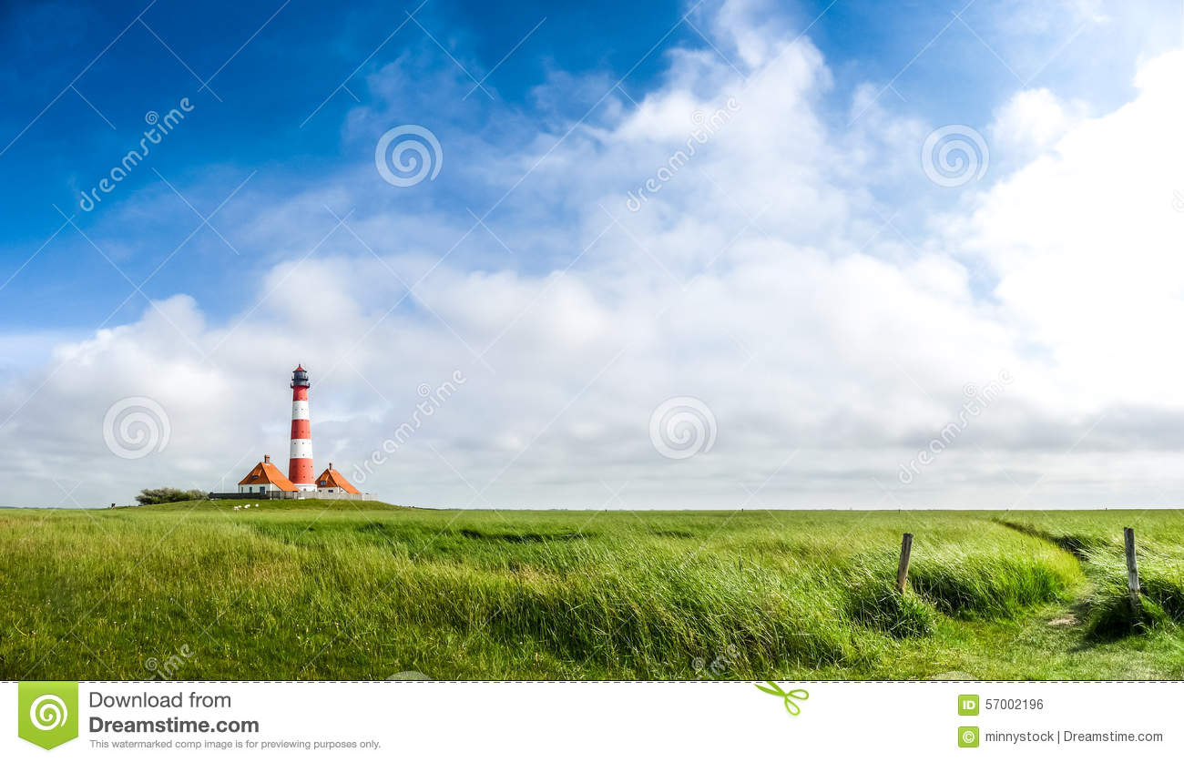 Beautiful Landscape With Famous Westerheversand Lighthouse At.