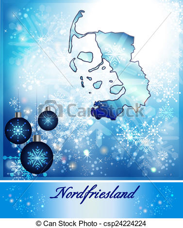 Clip Art of Map of Nordfriesland in Christmas Design in blue.