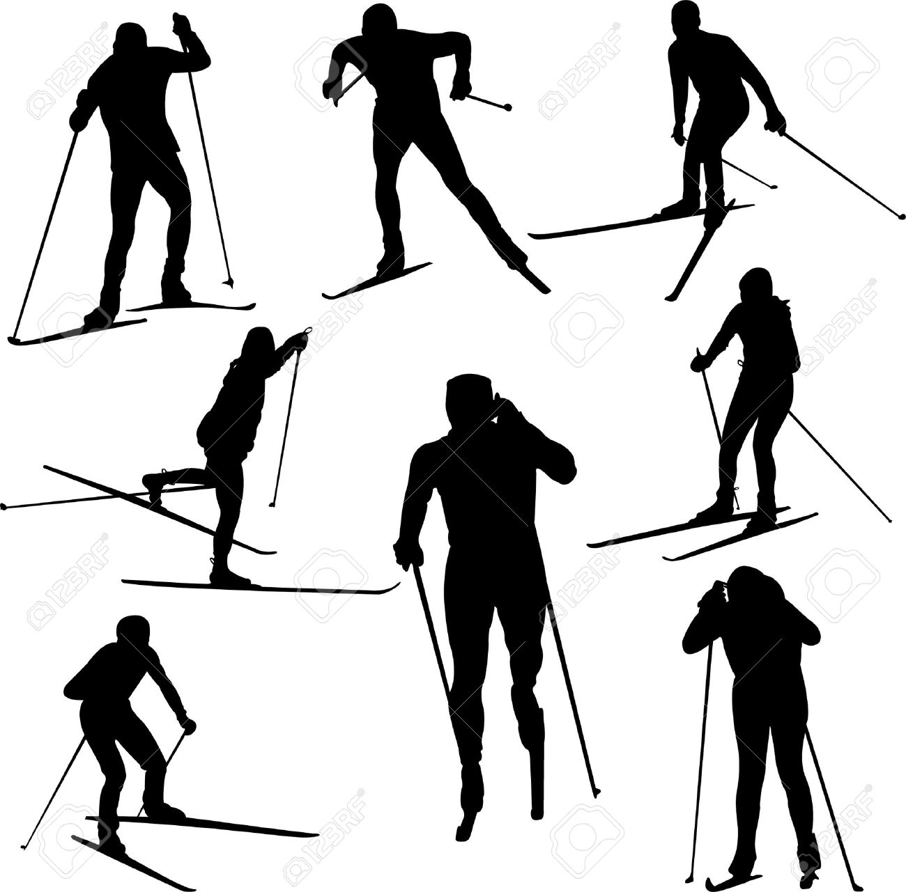 Nordic skier clipart.