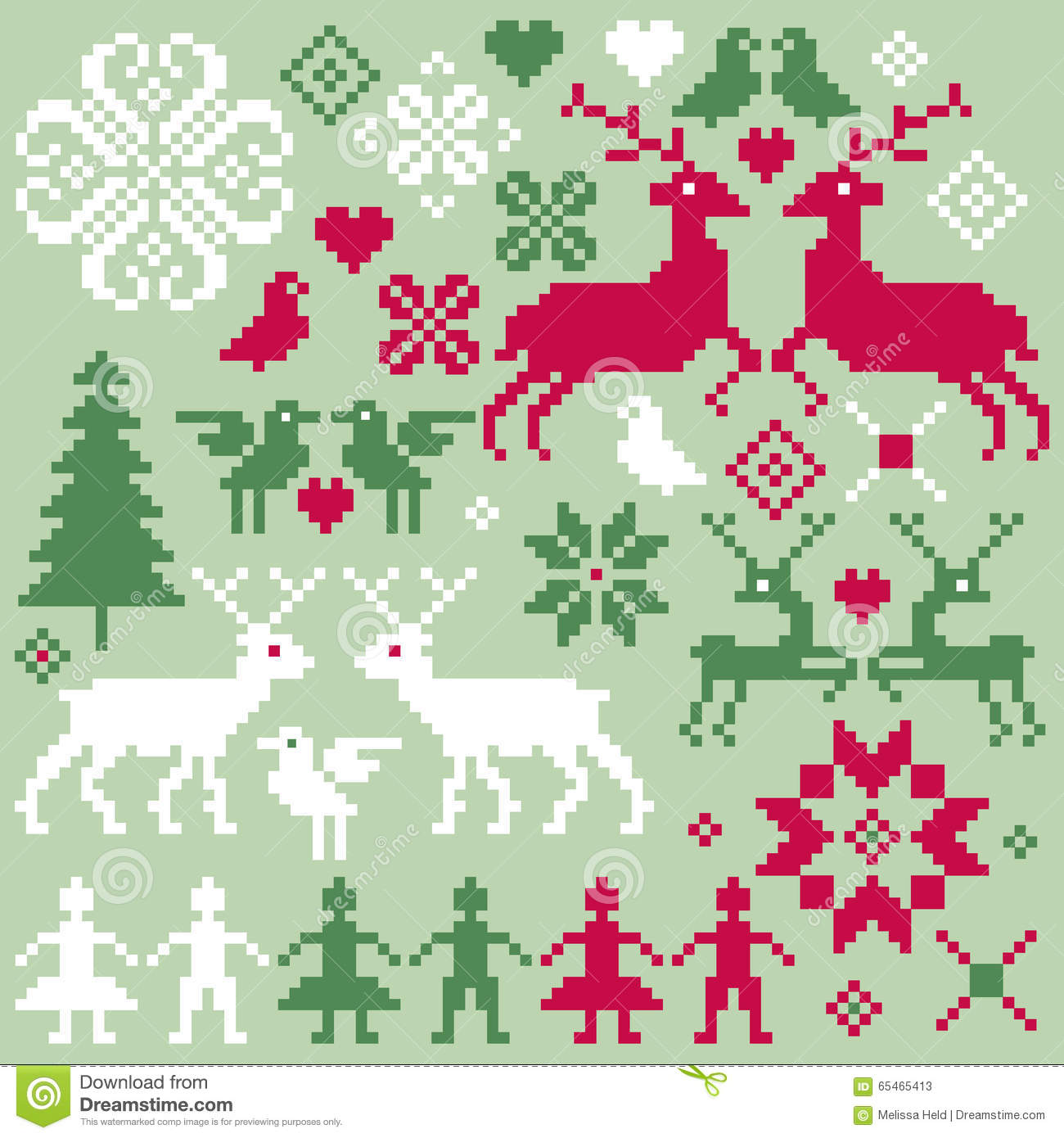Nordic Christmas Motifs Clipart Stock Illustration.