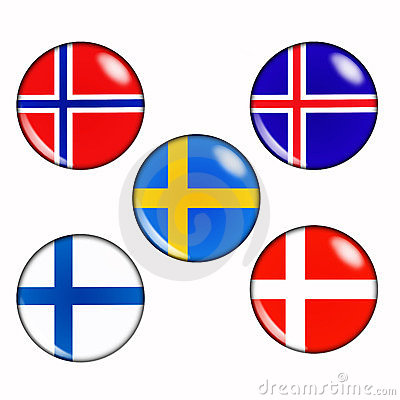Scandinavian Flags In A Circle Stock Photo.