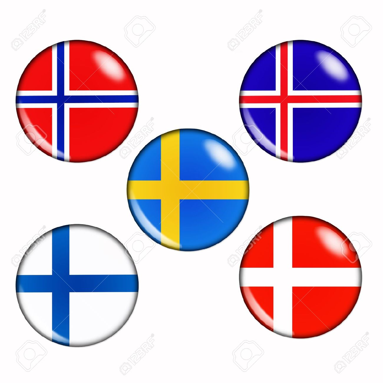Button Flags Of Scandinavian Countries Stock Photo, Picture And.