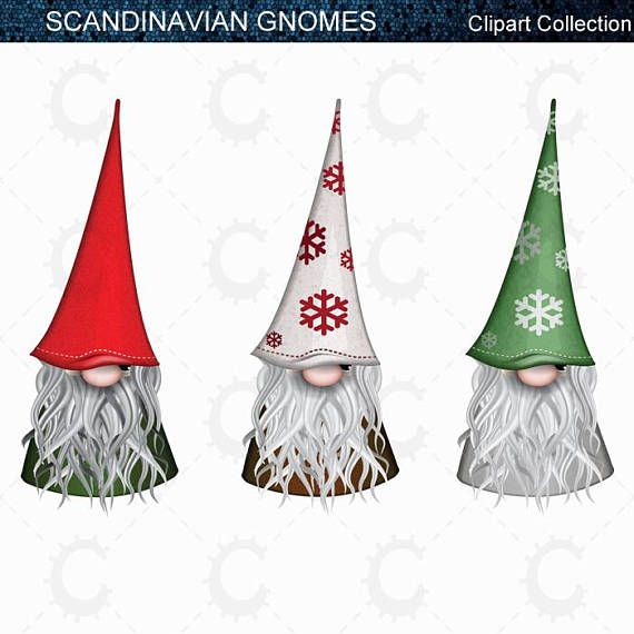 9 Scandinavian Christmas Gnomes, Tomte, Nisse, Santa, Elf.