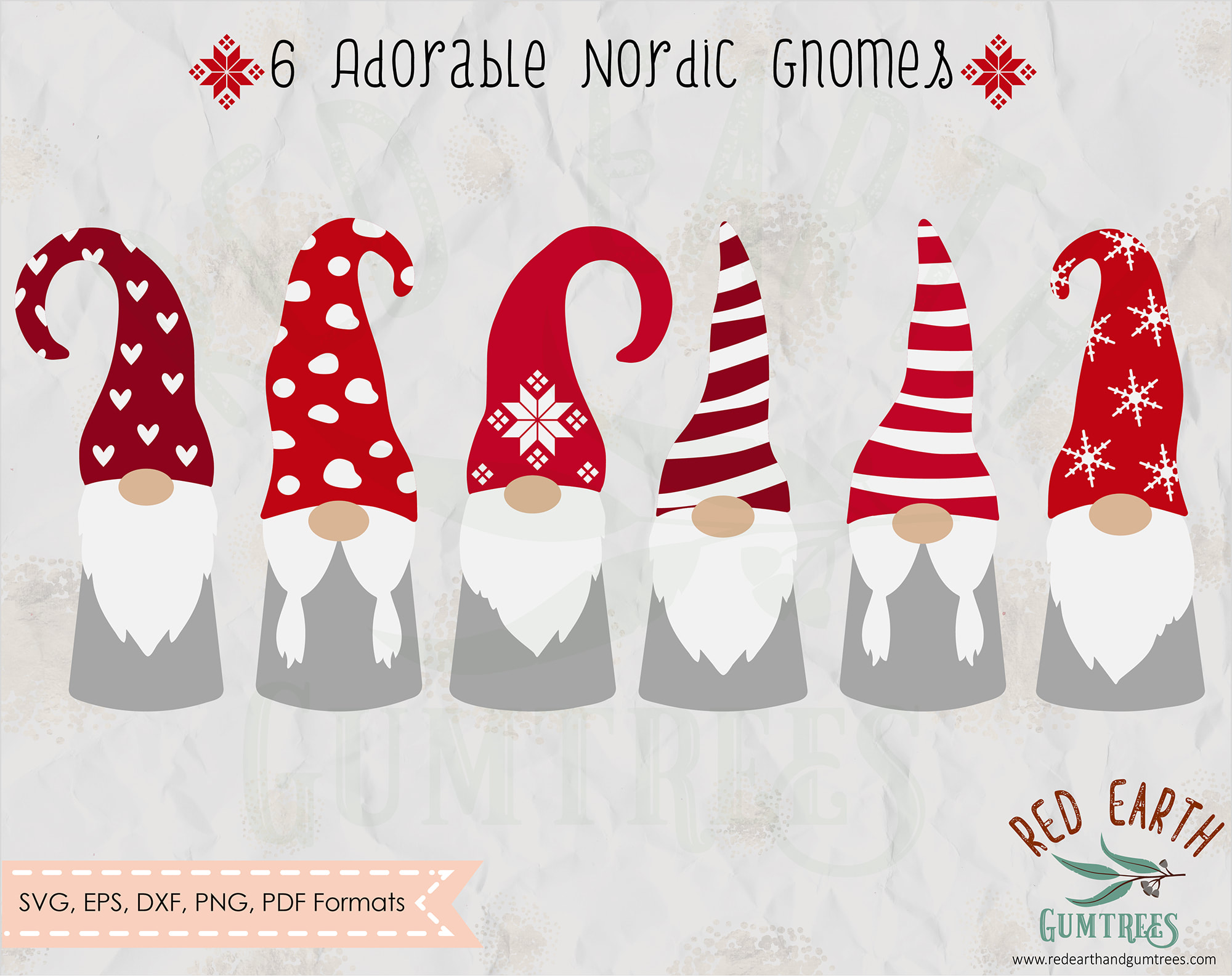 Nordic gnome bundle, Nordic Christmas gnome in SVG, EPS, PDF, DXF, PNG  formats.