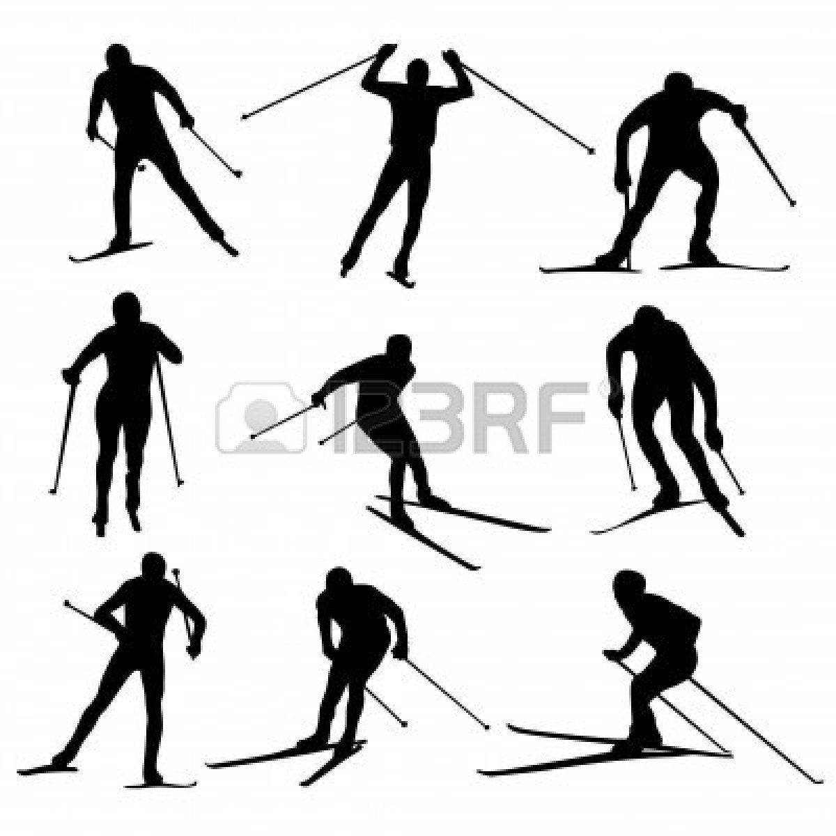 Set Of Nordic Skiing Silhouettes Royalty Free Cliparts.