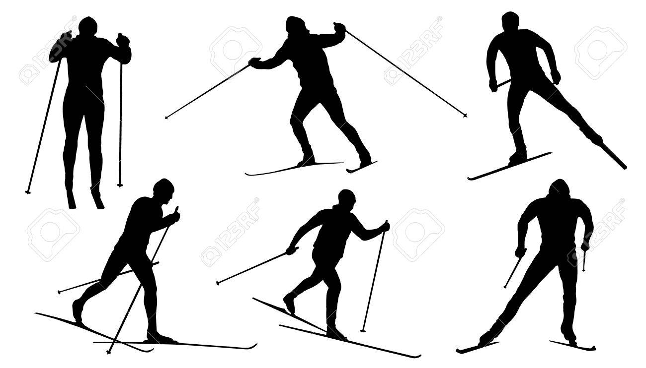 Cross Country Skiing Silhouette.