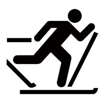 CC0737 Cross Country Skiing Guide Symbol Sign Stencils.
