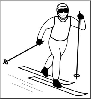 Clip Art: Cross Country Skiing 1 B&W I abcteach.com.