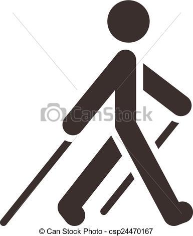 Clip Art Vector of Nordic Walking icon.