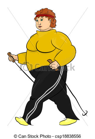 Clipart Vector of Obese woman is practicing nordic walking.