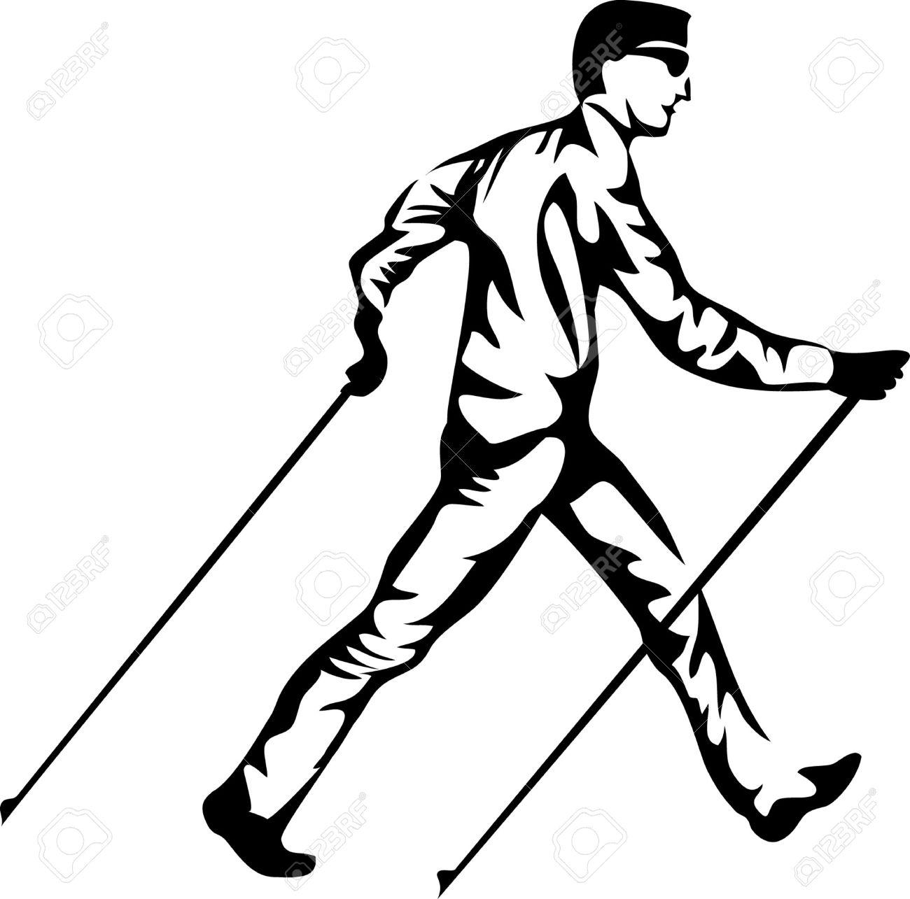 Nordic walking clipart.