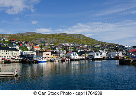 Stock Photos of City and harbor, Honningsvag, Nordkapp.