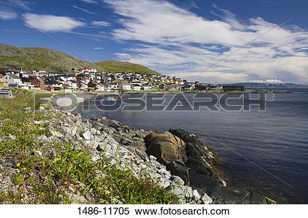 Stock Image of Houses at the waterfront, Honningsvag Port.