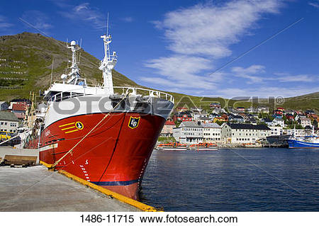 Stock Image of Ship moored at a port, Honningsvag Port.