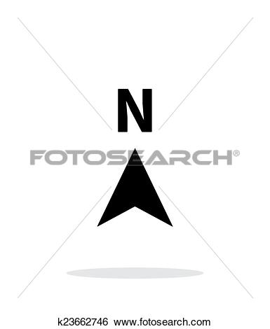 Clip Art of North direction compass icon on white background.