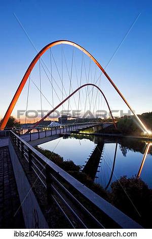 "Stock Image of ""Illuminated double arch bridge over the Rhine."