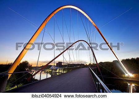 "Stock Photo of ""Illuminated double arch bridge over the Rhine."