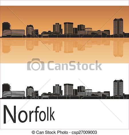 Vector Clipart of Norfolk skyline in orange background in editable.