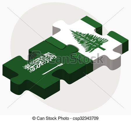 Vector Clipart of Saudi Arabia and Norfolk Island Flags in puzzle.