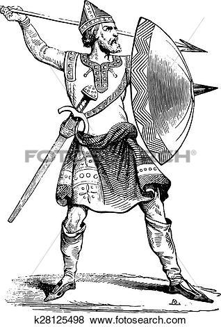 Clip Art of Norman soldier, vintage engraving. k28125498.
