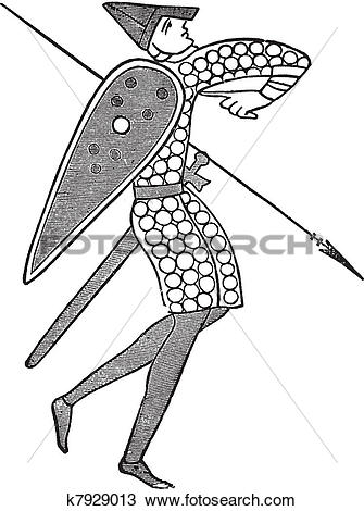 Clipart of Lancer from the norman army vintage engraving k7929013.