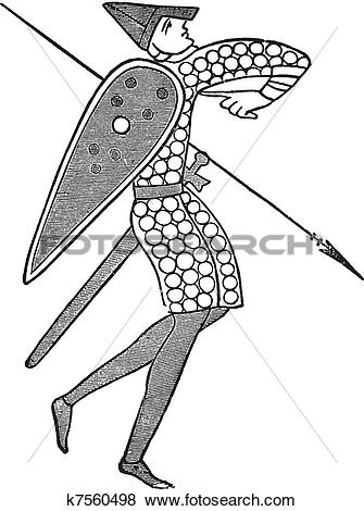 Clip Art of Lancer from the norman army vintage engraving k7560498.