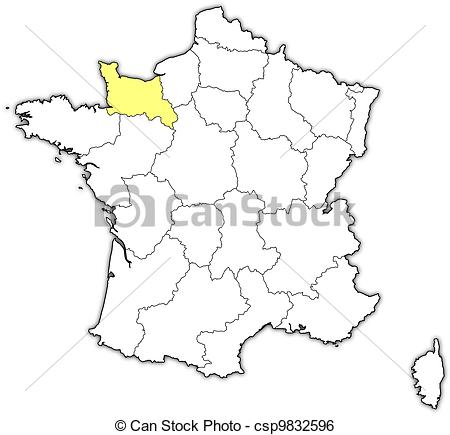 Clip Art Vector of Map of France, Lower Normandy highlighted.