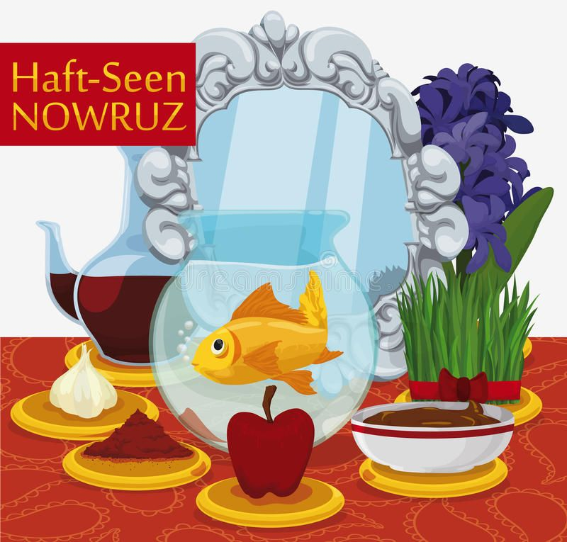 A Haftsin setting for Nowruz, the Iranian New Year..