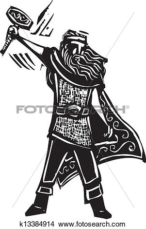 Clipart of Norse God Thor k13384914.