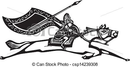 Vector Clipart of Valkyrie on Horse.