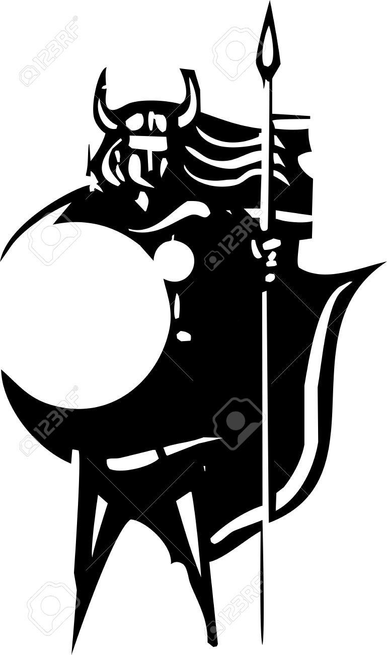 Woodcut Style Image Of A Norse Valkyrie With A Spear And Shield.