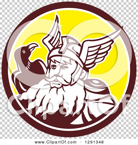 Clipart of a Retro Norse Mythology God Odin with a Crow in a Brown.