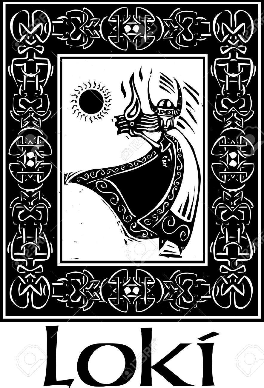 Woodcut Style Image Of The Viking God Loki In A Celtic Border.