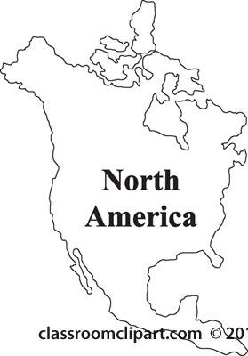 North America Line Clipart.