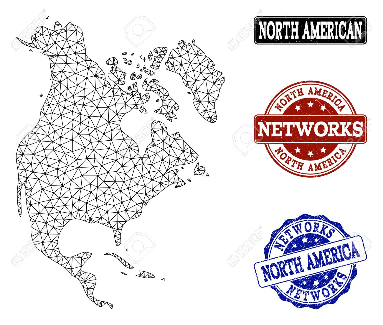 Black mesh vector map of North America isolated on a white background...