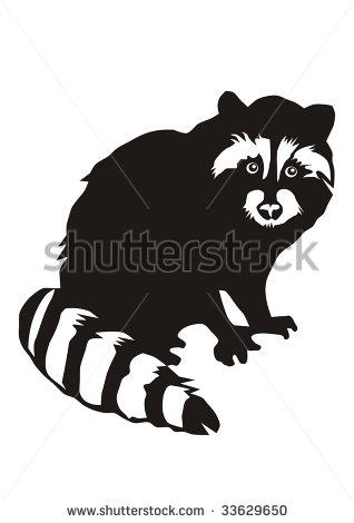 Raccoon silhouette clip art.