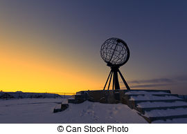 Stock Photo of Midnight Sun at the North Cape #1.