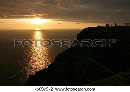 Stock Photo of Midnight Sun at the North Cape #1 k5007972.