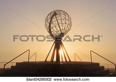 Stock Photo of Globe on the North Cape platform Nordkapplataet.