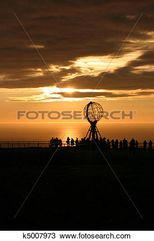 Stock Photo of The North Cape Globe at midnight #1 k5007973.