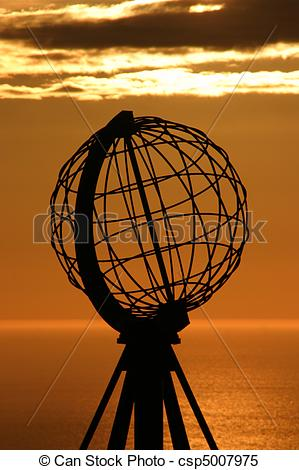Stock Images of The North Cape Globe at midnight #5.