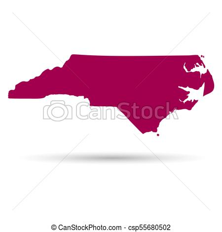 Map of the U.S. state of North Carolina on a white background..