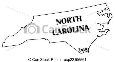 Clip Art Vector of North Carolina State and Date.