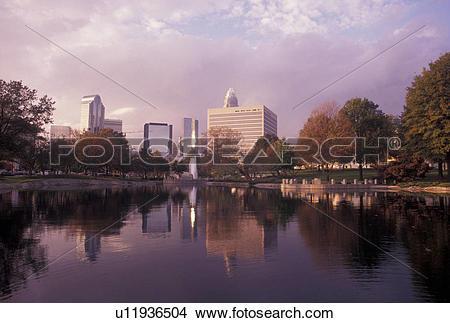 Stock Photo of skyline, Charlotte, NC, North Carolina, Downtown.