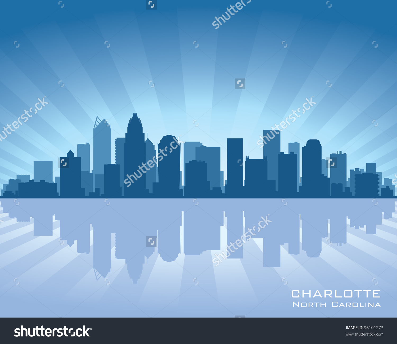 Charlotte, North Carolina Skyline Illustration With Reflection In.